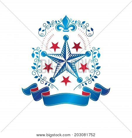 Ancient Star emblem decorated with lily flower and floral ornament. Heraldic vector design element 5 stars award symbol. Retro style label heraldry logo.