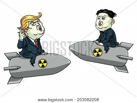 Donald Trump Vs Kim Jong-un on Nuclear Weapon Threat. Vector Cartoon Illustration. September 6, 2017
