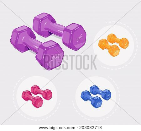 Dumbbells for fitness. Sports inventory. Barbells. Bodybuilding gym equipment. Vector illustration.
