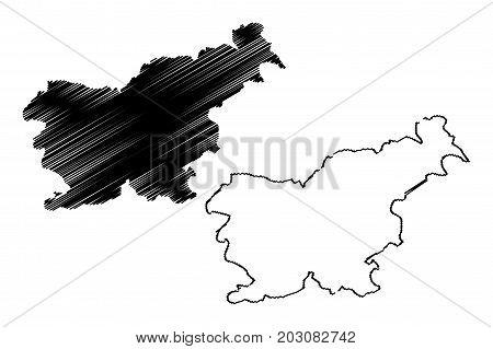 Slovenia map vector illustration , scribble sketch Slovenia
