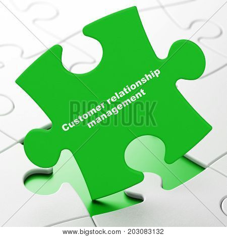 Advertising concept: Customer Relationship Management on Green puzzle pieces background, 3D rendering