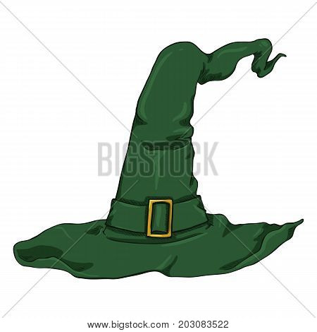 Vector Cartoon Green Witches Hat