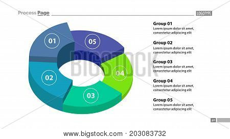 3d donut chart with five groups template. Element of graph, diagram, analysis. Concept for presentation, slide template, annual report. Can be used for topics like business, finance, marketing