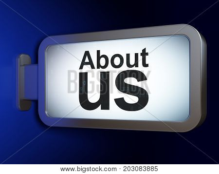 Marketing concept: About Us on advertising billboard background, 3D rendering