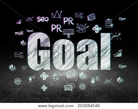 Advertising concept: Glowing text Goal,  Hand Drawn Marketing Icons in grunge dark room with Dirty Floor, black background