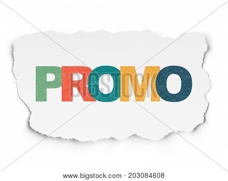 Marketing concept: Painted multicolor text Promo on Torn Paper background