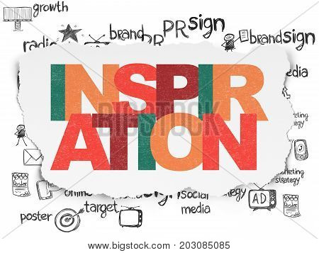 Marketing concept: Painted multicolor text Inspiration on Torn Paper background with  Hand Drawn Marketing Icons