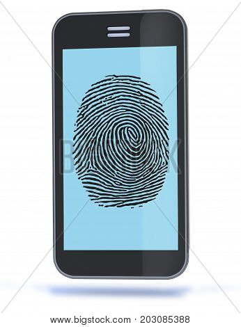 Smartphone with Fingerprint of Thumb 3D illustration.