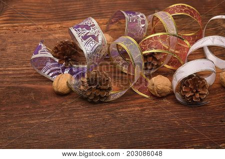 Christmas Decoration Over Wooden Background. Decorations over Wood. Vintage. Selective focus