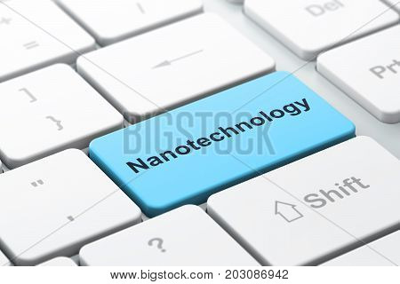Science concept: computer keyboard with word Nanotechnology, selected focus on enter button background, 3D rendering
