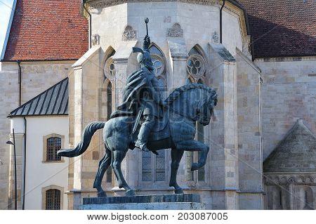 Michael the Brave's equestrian statue inside Carolina Citadel in Alba Iulia Romania