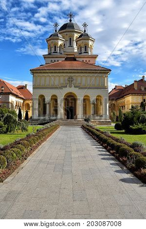 Christian Orthodox Church Alba Iulia Romania. Coronation Cathedral dedicated to the Holy Trinity and the Holy Archangels Michael and Gabriel built in 1921-1922.