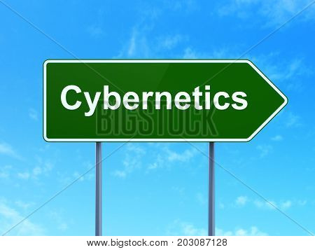 Science concept: Cybernetics on green road highway sign, clear blue sky background, 3D rendering