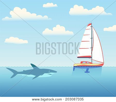 The shark is pursuing the yacht. Underwater view. Sails, sky with clouds. Vector illustration.