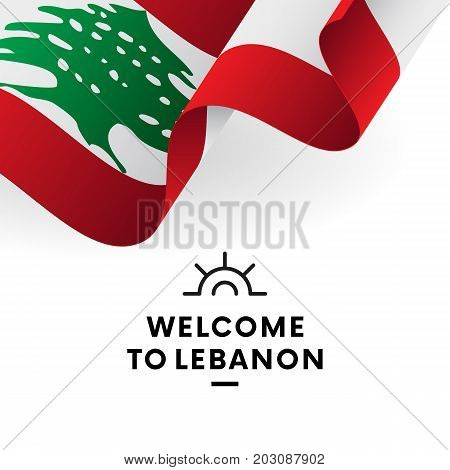 Welcome to Lebanon. Lebanon flag. Patriotic design. Vector illustration.