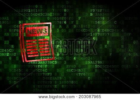 News concept: pixelated Newspaper icon on digital background, empty copyspace for card, text, advertising