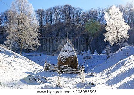 Winter Dull Country Mountain Landscape With Haystack (fundatura Ponorului, Romania)