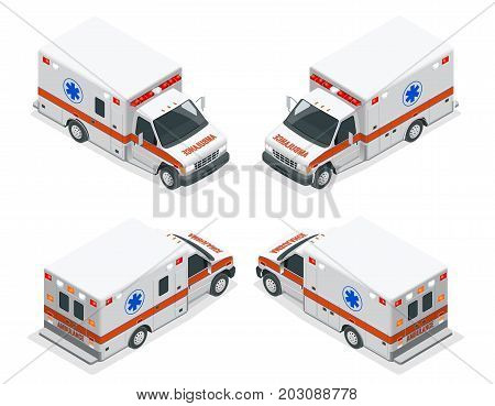 Transport isometric set Ambulance van isolated vector illustration. Emergency medical evacuation accident. Accident Ambulance Aid Service Clinic Emergency Department for Infographics, banner, web.