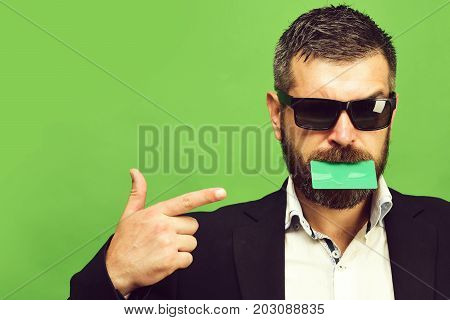 Business And Success Concept. Businessman With Empty Card
