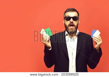 Businessman With Empty Cards, Copy Space. Guy With Surprised Face