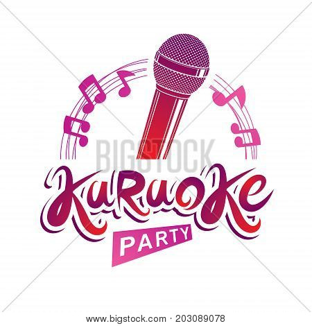 Microphone audio equipment composed with musical notes can be used as vector emblem for karaoke party advertising and nightclub discotheque invitation poster.