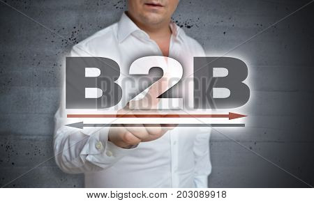 B2B Icon Touchscreen Is Operated By Man