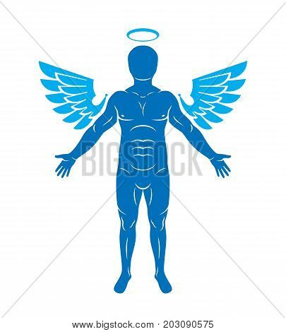 Vector illustration of human athlete made using angel wings and nimbus. Holy Spirit cherub metaphor.