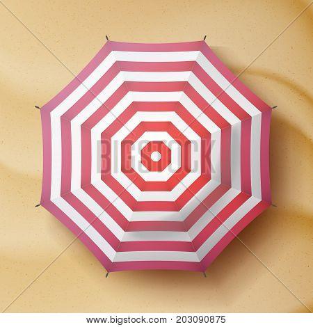 Summer Beach Umbrella Vector. Parasol Sunshade Top View. Sand Beach Background. Summer Illustration.