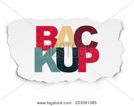 Software concept: Painted multicolor text Backup on Torn Paper background