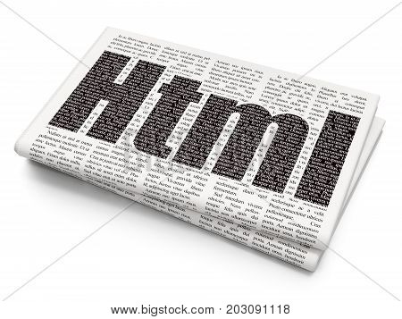Database concept: Pixelated black text Html on Newspaper background, 3D rendering