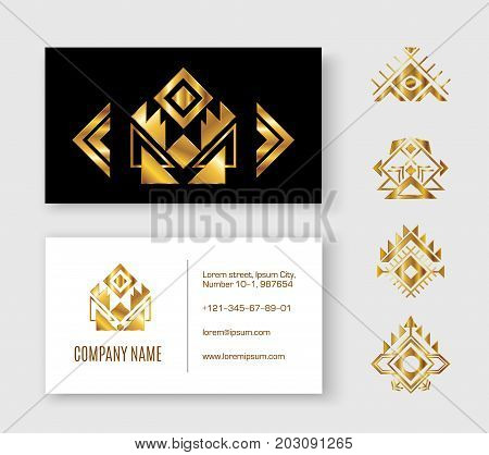 Black gold pattern business card ethnic element. Black and gold sample visit card with an extra Aztec elements for designers and illustrators. Ethnic set vector illustration