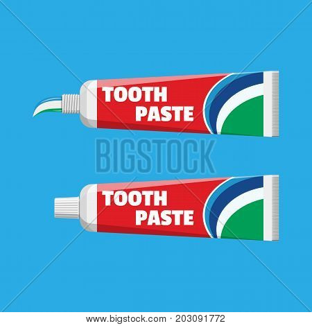 Tube with squeezed paste. Package with tooth paste. Dental equipment. Hygiene and oralcare. Vector illustration in flat style