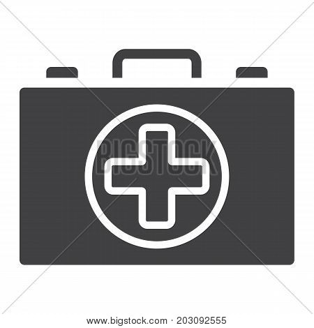First aid kit box glyph icon, medicine and healthcare, medical case sign vector graphics, a solid pattern on a white background, eps 10.