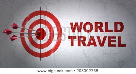 Success tourism concept: arrows hitting the center of target, Red World Travel on wall background, 3D rendering