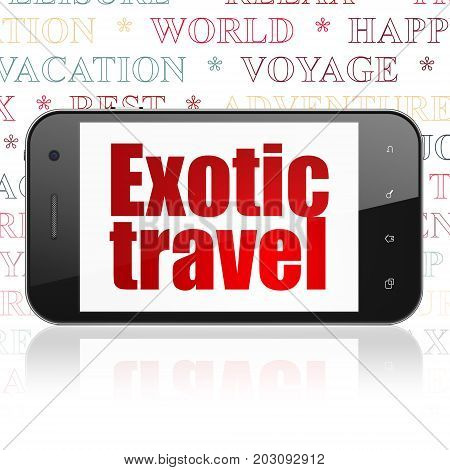 Vacation concept: Smartphone with  red text Exotic Travel on display,  Tag Cloud background, 3D rendering