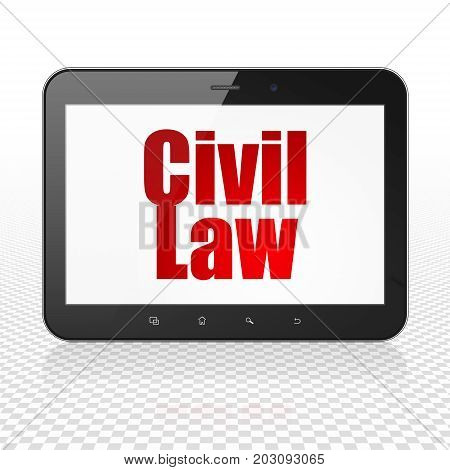 Law concept: Tablet Computer with  red text Civil Law on display,  Tag Cloud background, 3D rendering