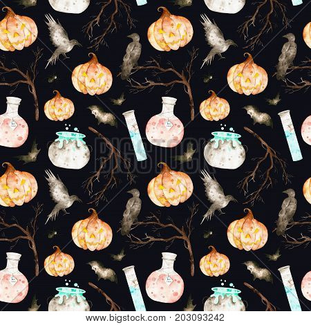 This halloween seamless pattern on a black background included magic cauldron,potion bottles,bats,ravens,branches and crazy pumpkin.