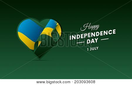 Banner or poster of Rwanda independence day celebration. Waving flag. Vector illustration.