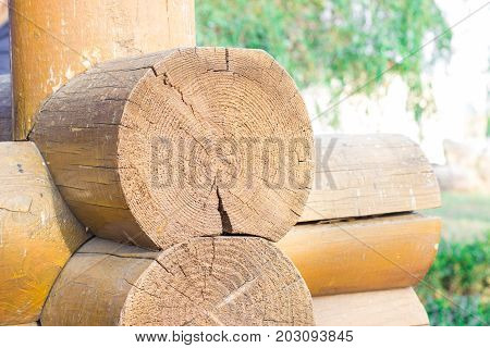 Wooden blockhouse background or  background or texture