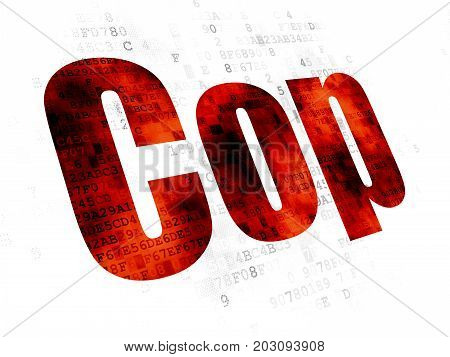 Law concept: Pixelated red text Cop on Digital background