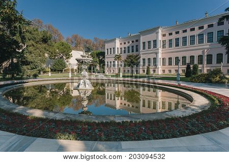 Istanbul Turkey. Fountain garden in Dolmabahce Palace. Dolmabahce is the largest palace in Turkey and one of the most glamorous palaces in the world.