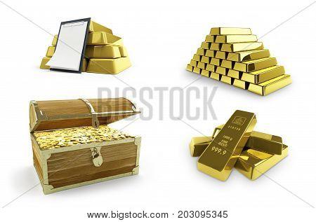 gold set on a white background 3D illustration 3D rendering