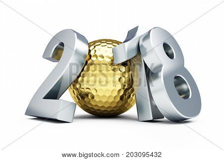 New Year 2018 golf ball gold on a white background 3D illustration 3D rendering