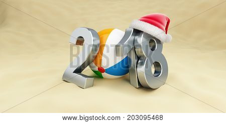 New Year 2018 on the beach ball santa hat on a white background 3D illustration 3D rendering