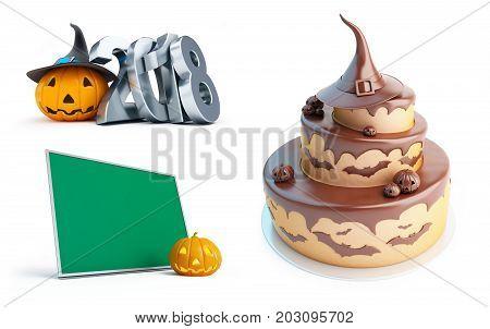 halloween pumpkin 2018 Halloween cake on a white background 3D illustration 3D rendering