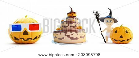 3d glasses child in a Halloween costume cake on a white background 3D illustration 3D rendering