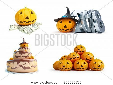 halloween pumpkin set on a white background 3D illustration 3D rendering