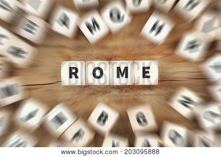 Rome Town City Italy Travel Traveling Dice Business Concept