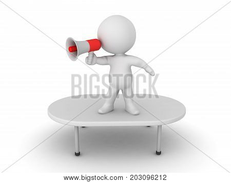 3D Character standing on top of a table and using a loudspeaker. Isolated on white.