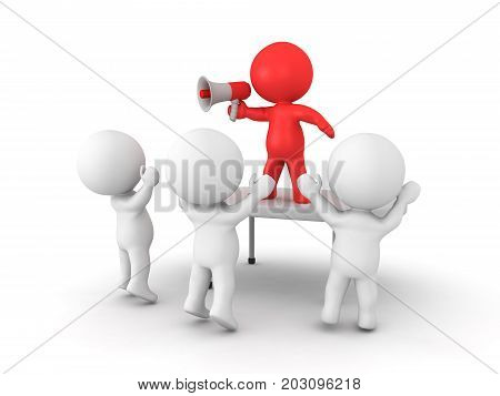 3D Character talking on megaphone and energizing a crowd. Isolated on white.